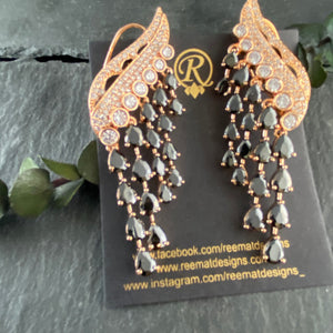 PP4116 EARRINGS VINE DANGLING DIAMONDESQUE WITH COLORS