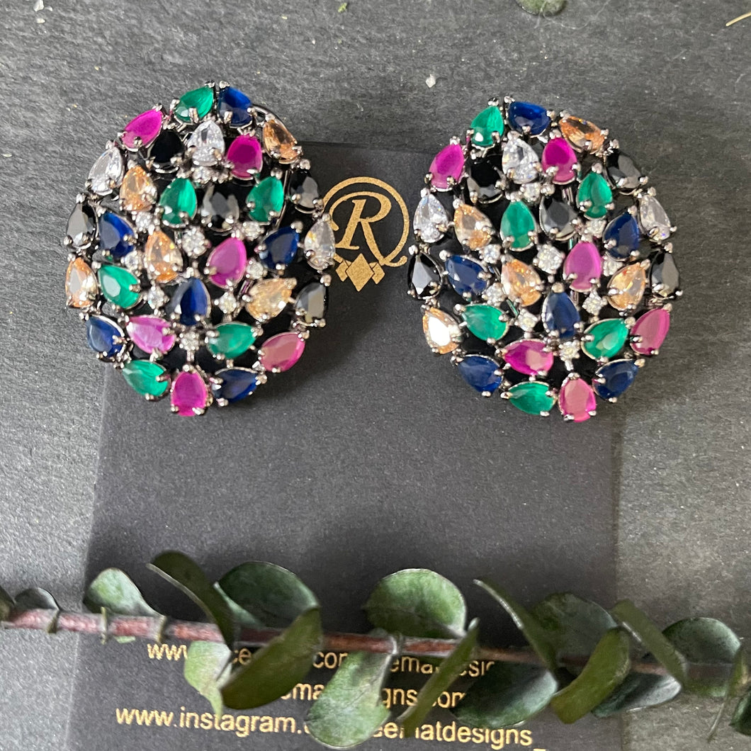 PP4211 EARRING COLORED STONE STUDS