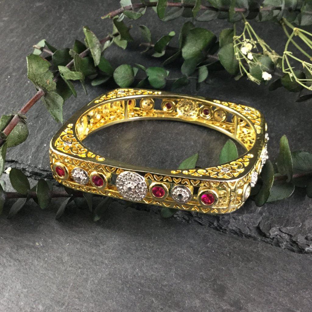 PP1476 SQUARE BANGLE WITH SLIDING RUBY AND CZ CRYSTAL ACCENTS