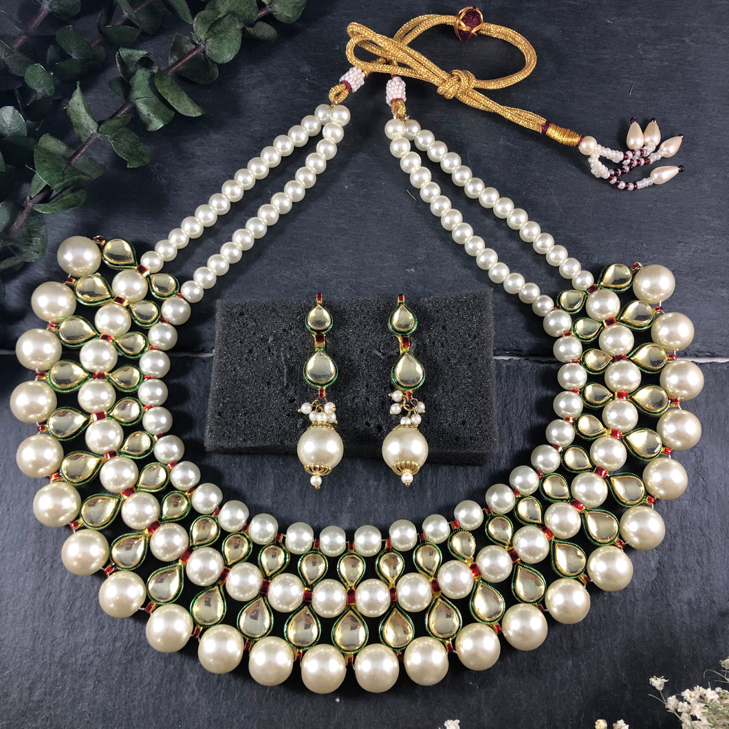 PP2584A LEGACY 5 LINE PEARL AND POLKI SET WITH EARRINGS