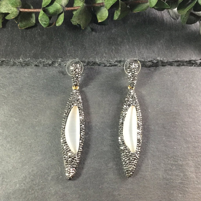 TD802E LONG PEAR MARCASITE AND MOTHER-OF-PEARL EARRINGS