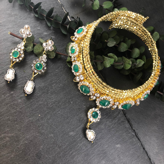 SG2037 Emerald and CZ Crystal Wire Choker and Earring Set