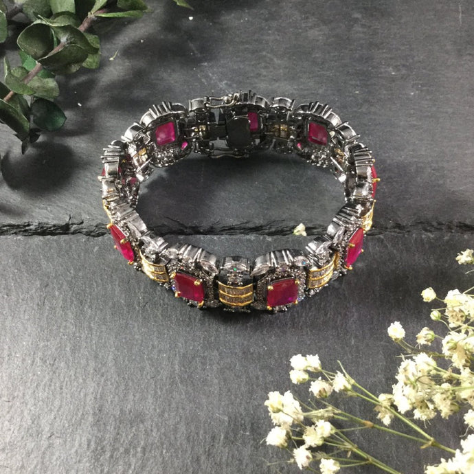 PP2588 Gunmetal, Crystal, and Ruby Bracelet