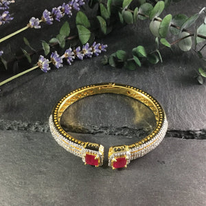 RS186AB HINGED RUBY AND CRYSTAL BRACELET
