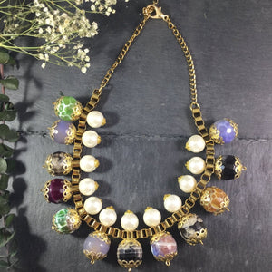 CFA27 MULTI-COLORED BEAD AND PEARL NECKLACE