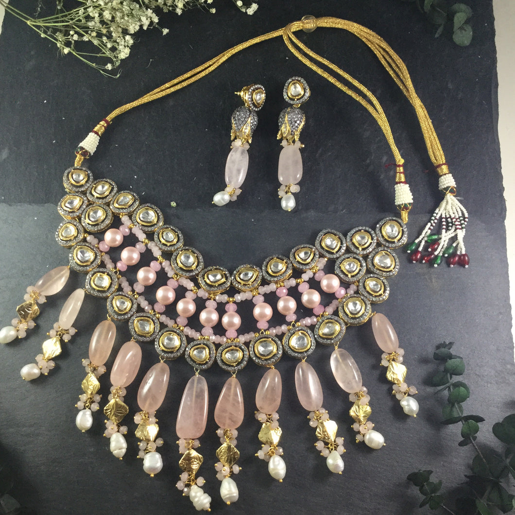 OP188 GLAMOUR PINK QUARTZ 6 LAYER NECKLACE