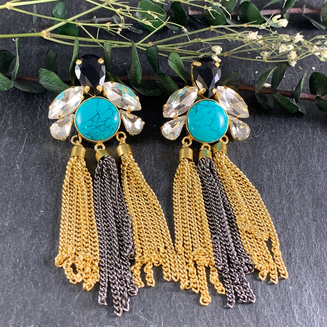 SG1526E Turquoise, Black, and Gold Waterfall Earrings