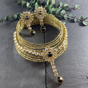 SG1652 MARIA CHOKER IN GOLD TONES WITH VINTAGE CRYSTALS