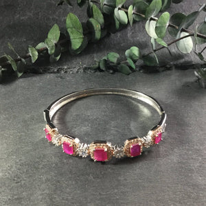 RS185BB Square Ruby and Silver Delicate Bangle