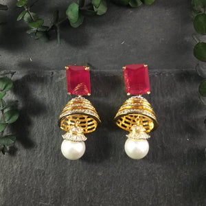 RS164AE RUBY AGATE AND PEARL JHUMKI EARRINGS
