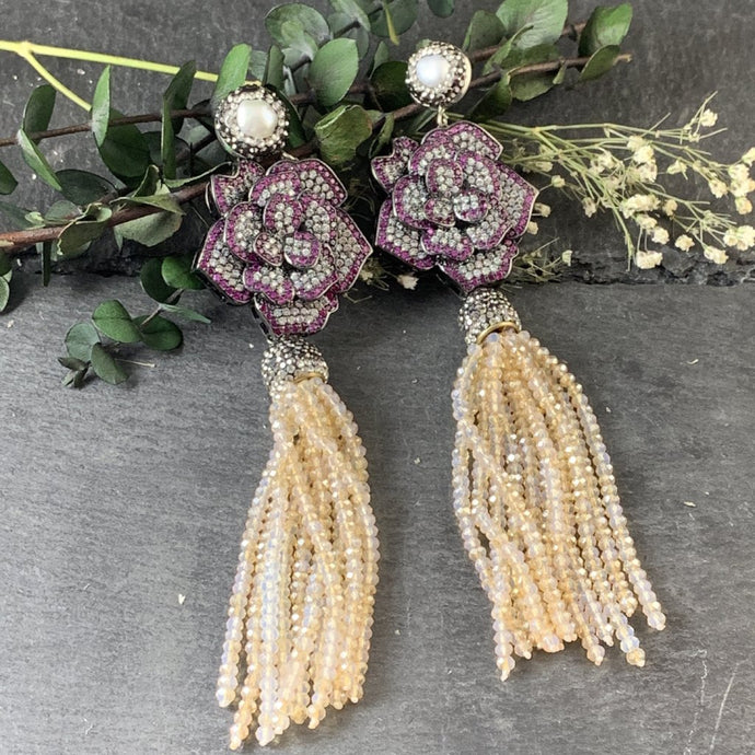 SG1064ER CRYSTAL FLOWER AND TASSEL EARRINGS