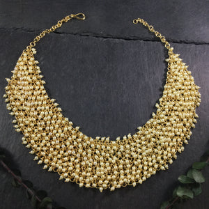 GA332 Legacy Gold Jali Necklace With Pearls