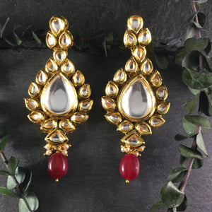 OPRED STATEMENT KUNDAN EARRINGS WITH RED DROP