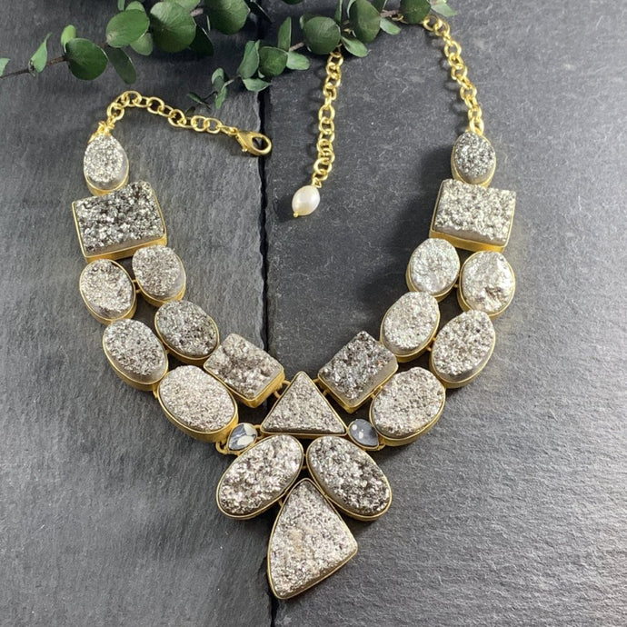 SG1666 Grey Rocca Bib Necklace