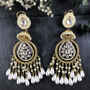 PP1928E GOLD AND PEARL BALI LONG EARRINGS