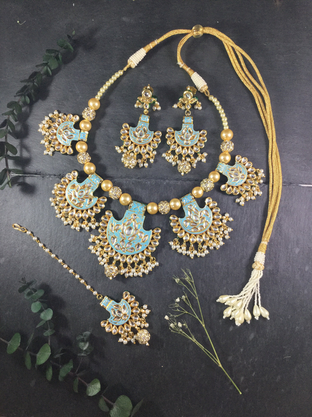 TD701 LEGACY 5 BALI SET TURQUOISE WITH EARRINGS AND TIKKA