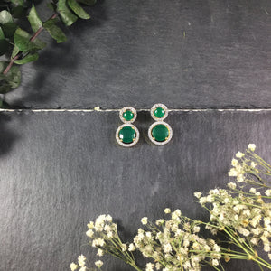 PP2675AE EARRING 2 CIRCLE SMALL EMERALDS