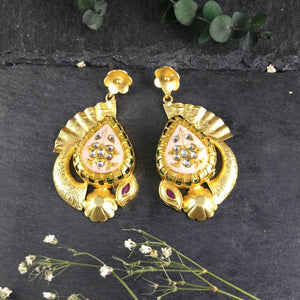 SG1498E PASTEL PINK MEENA EARRINGS