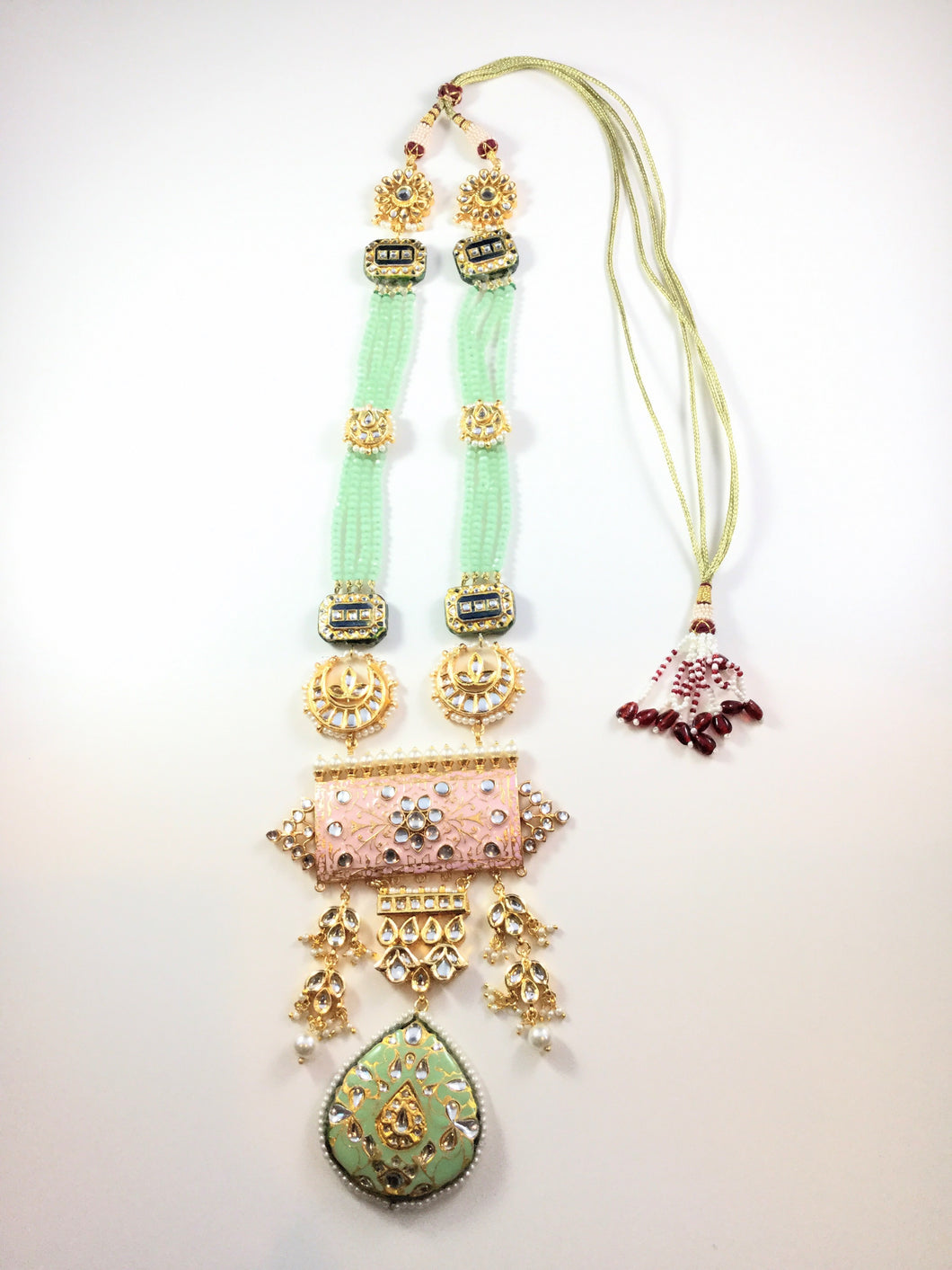 TD630 LEGACY PASTEL PINK AND GREEN LONG NECKLACE