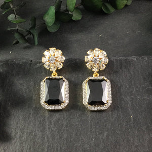 RS165BE MIDNIGHT AGATE AND CZ CRYSTAL EARRINGS