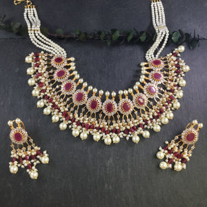 GA321 Glamour Ruby And Pearl Traditional Set