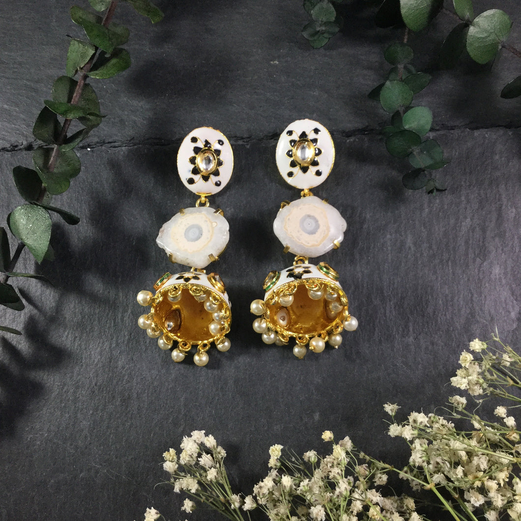 PP2597 EARRING JHUMKI WITH DRUZY STONE AND MEENA