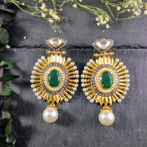 SG1815E GREEN AND GOLD OVAL EARRINGS