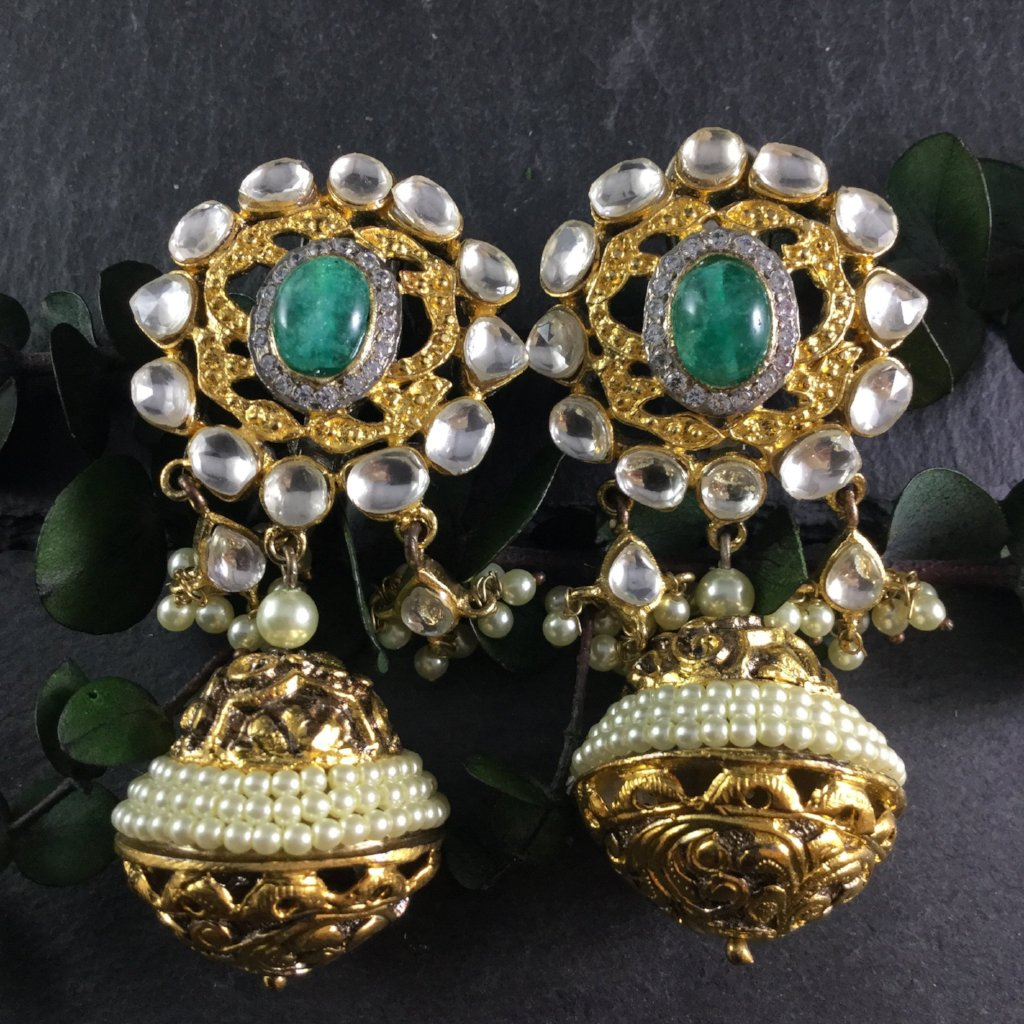 SG1748E GOLD AND GREEN PEARL DOME JHUMKI EARRINGS