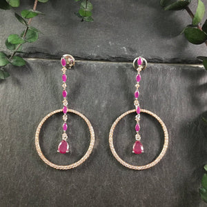 SG1935E ROSE GOLD, CZ CRYSTAL AND RUBY AGATE EARRINGS
