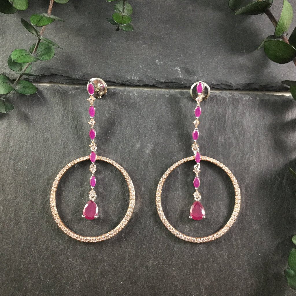SG1935E Rose Gold, CZ Crystals, and Ruby Agate Dangling Earrings