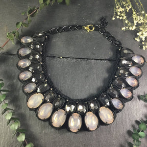 SE176 WEAVE CHRISTA MILKY GREY AND CHARCOAL GREY NECKLACE