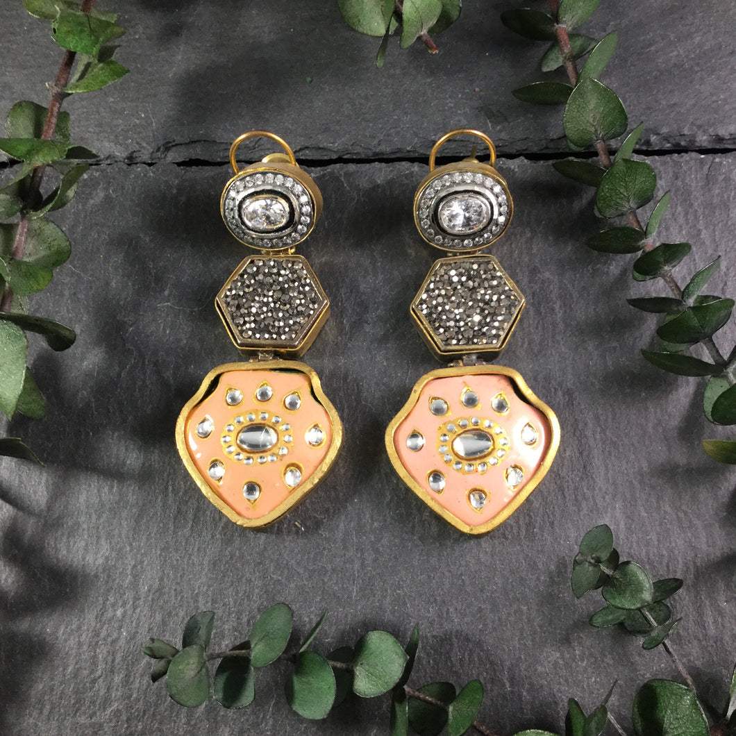 TD949 EARRING PEACH MEENA AND SWAVROSKI