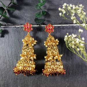 SG1687E THREE-TIER JHUMKI EARRINGS WITH RUBIES AND PEARLS