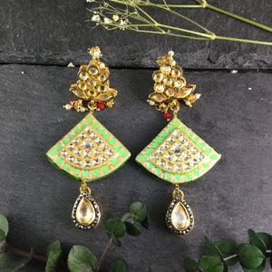 TD321 LIME GREEN MEENA FAN EARRINGS