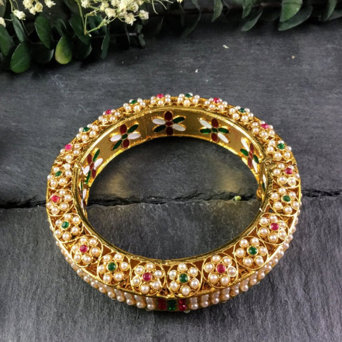 PP2491BB PEARL AND MEENA ENAMELWORK INTRICATE BANGLE BRACELET
