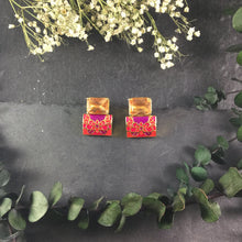 PP2684BE ORANGE AND RED MEENAKARI SQUARE EARRINGS