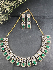 RS149B GLAMOUR DIANA DELICATE EMERALD DIAMOND SET