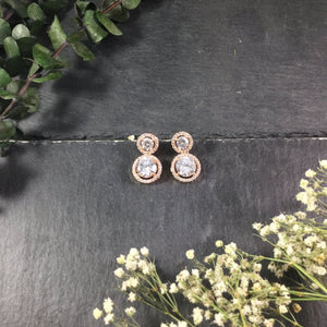 PP2539AE TWO CIRCLE SMALL DIAMONDESQUE EARRINGS