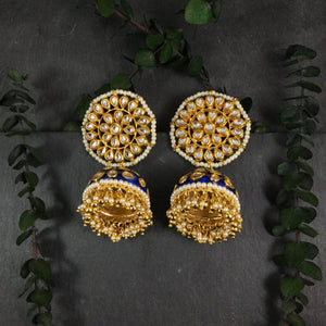 TD635E EARRINGS BLUE KUNDAN BALI