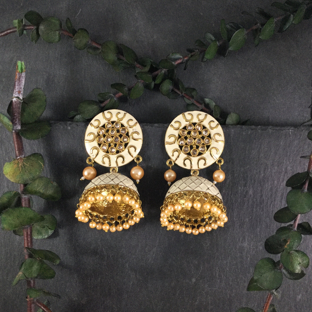 PP3226 EARRINGS MEENA JHUMKI IVORY