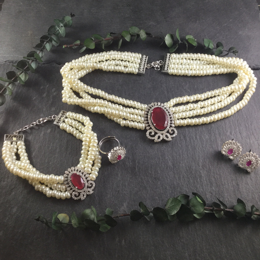 SG2634 GLAMOUR PEARL WITH RUBY 4 PIECE SET