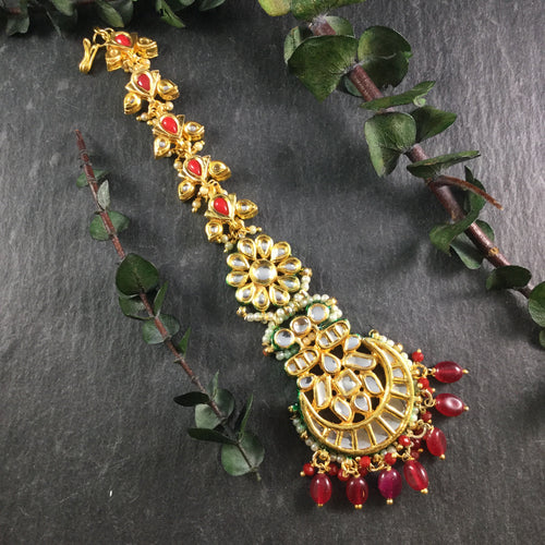 TD1243 TIKKA RED STONE AND KUNDAN