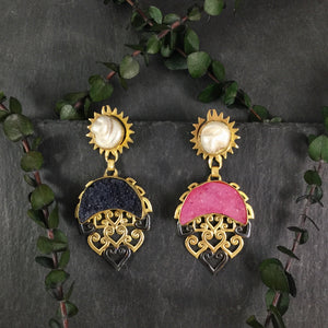SG1538E TWO TONE BLACK AND HOT PINK DRUZY EARRINGS