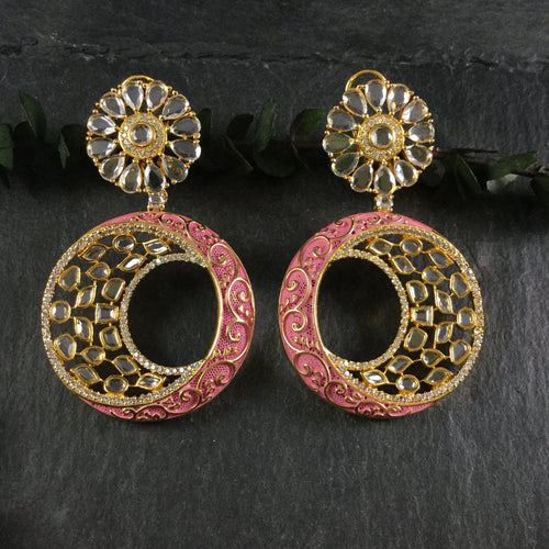 RS273 EARRING MEENA PASTEL CIRCLE CRYSTAL EARRINGS