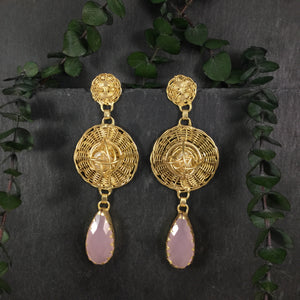 SG1537E PASTEL PINK WITH GOLD MESH EARRINGS