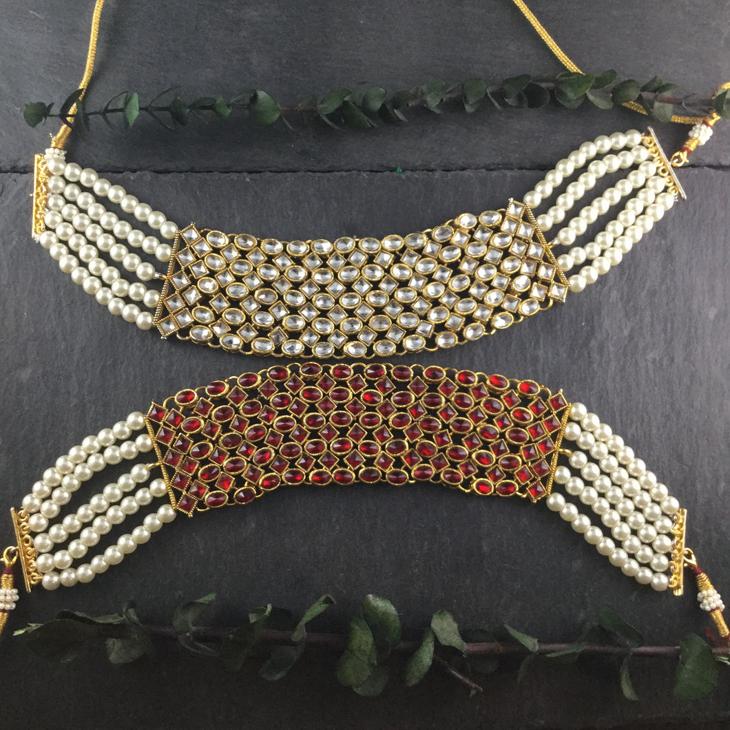 PP3529 GLAMOUR REVERSIBLE DOUBLE CHOKER WHITE AND RUBY RED