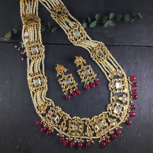 OP344 LEGACY RED LONG LAYERED SET WITH PEARLS AND KUNDAN