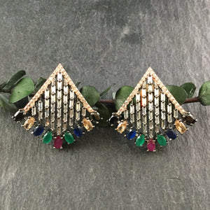 OP327 EARRING STUDS MULTI TRIANGLE