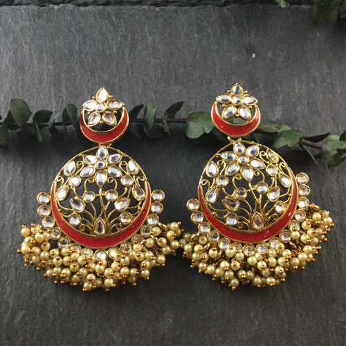 PP3485 EARRING KUNDAN LIGHTWEIGHT BALI HANGING PEARLS RED