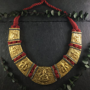 TD1280 TEMPLE BIG RED ROPE SHORT NECKLACE